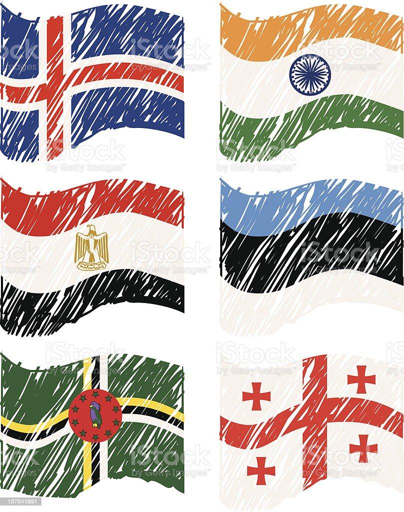 Hand drawn Vector Flags royalty-free stock vector art