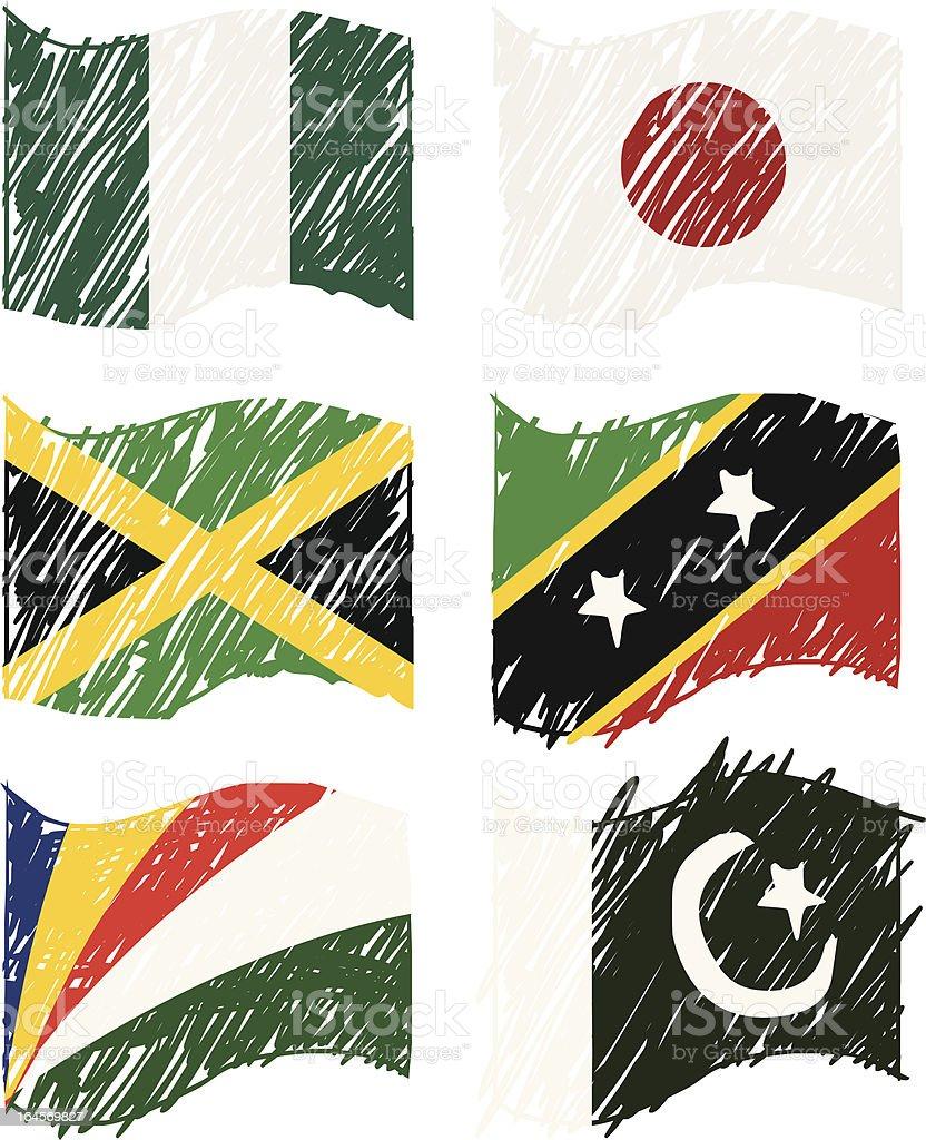 Hand drawn Vector Flags vector art illustration