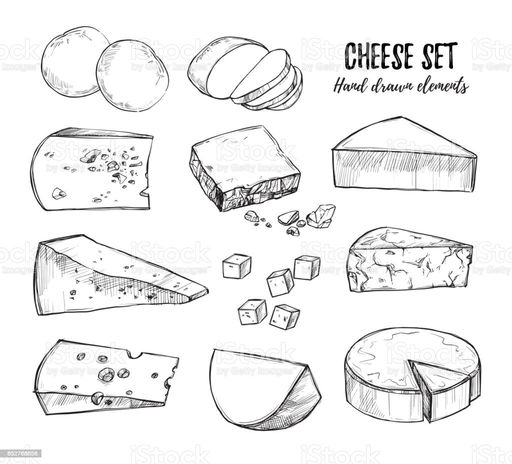 Hand drawn vector illustration. Cheese set (mozzarella, blue cheese, gouda, parmesan, maasdam etc). Isolated on white background. Design elements in sketch style. Perfect for packaging, menu, cards, blogs, banners vector art illustration