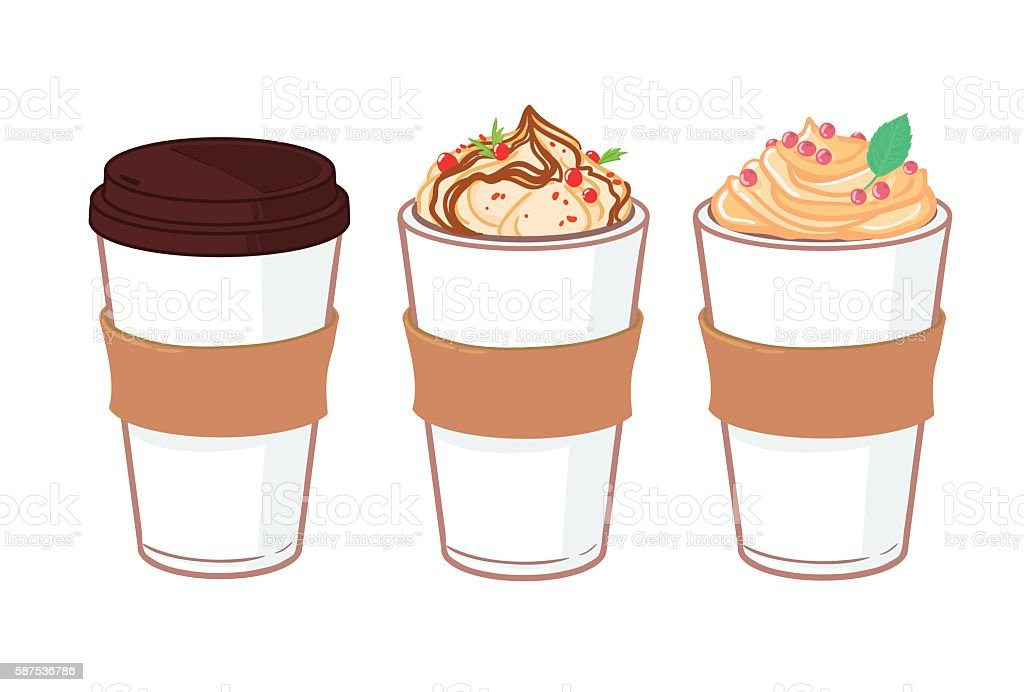 Hand drawn vector illustration - Coffee to go vector art illustration