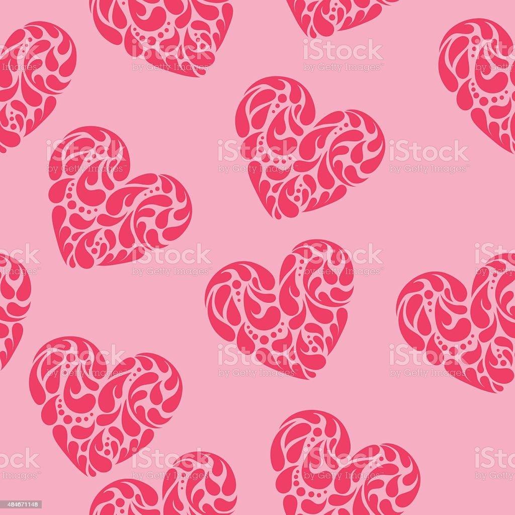 Hand drawn vector illustration - decorative hearts. Seamless pattern vector art illustration