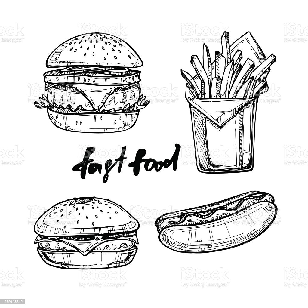 Hand drawn vector illustration - Fast food elements vector art illustration
