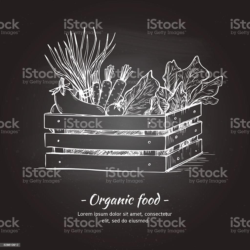 Hand drawn vector illustration -Fresh vegetables. Supermarket. vector art illustration