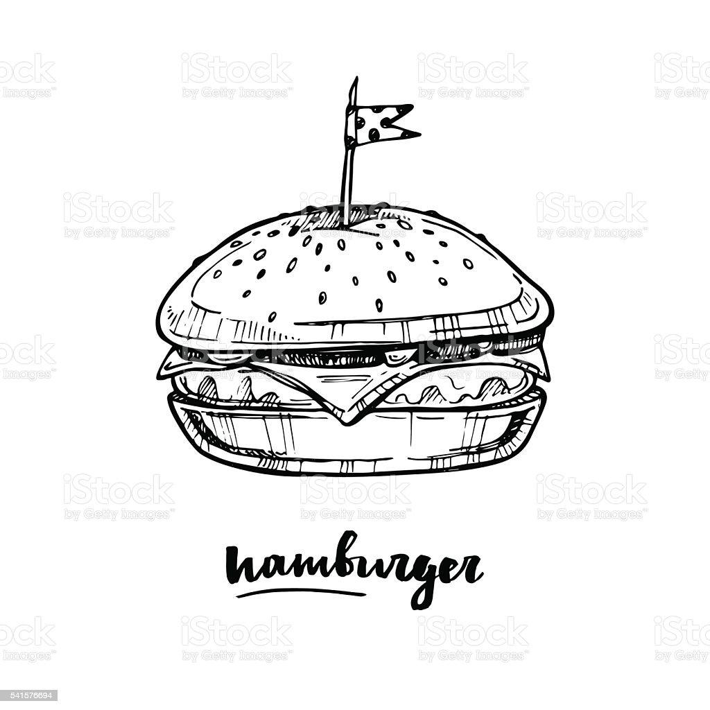 Hand drawn vector illustration - Hamburger. Sketch collection. Fast food vector art illustration