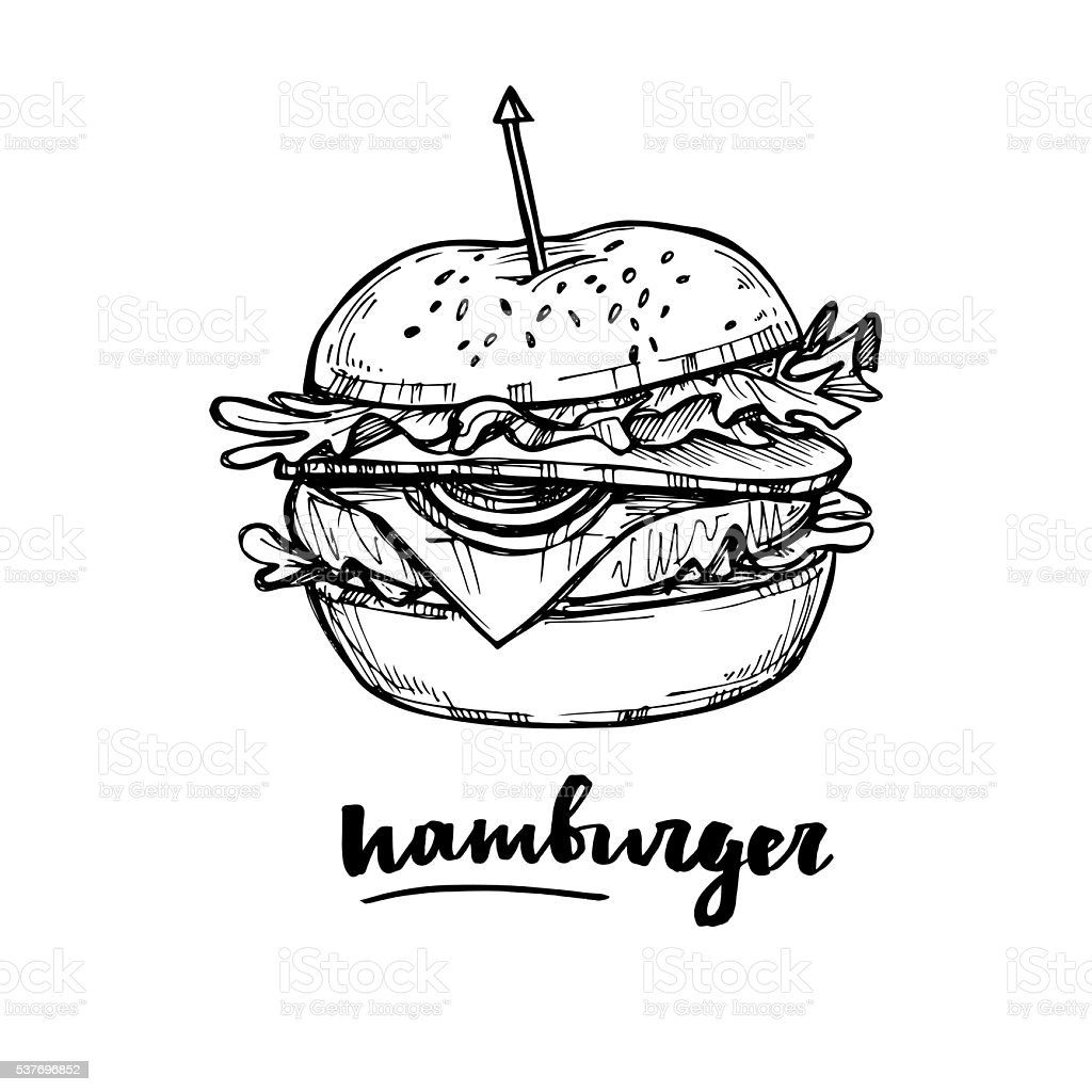 Hand drawn vector illustration - Hamburger. vector art illustration