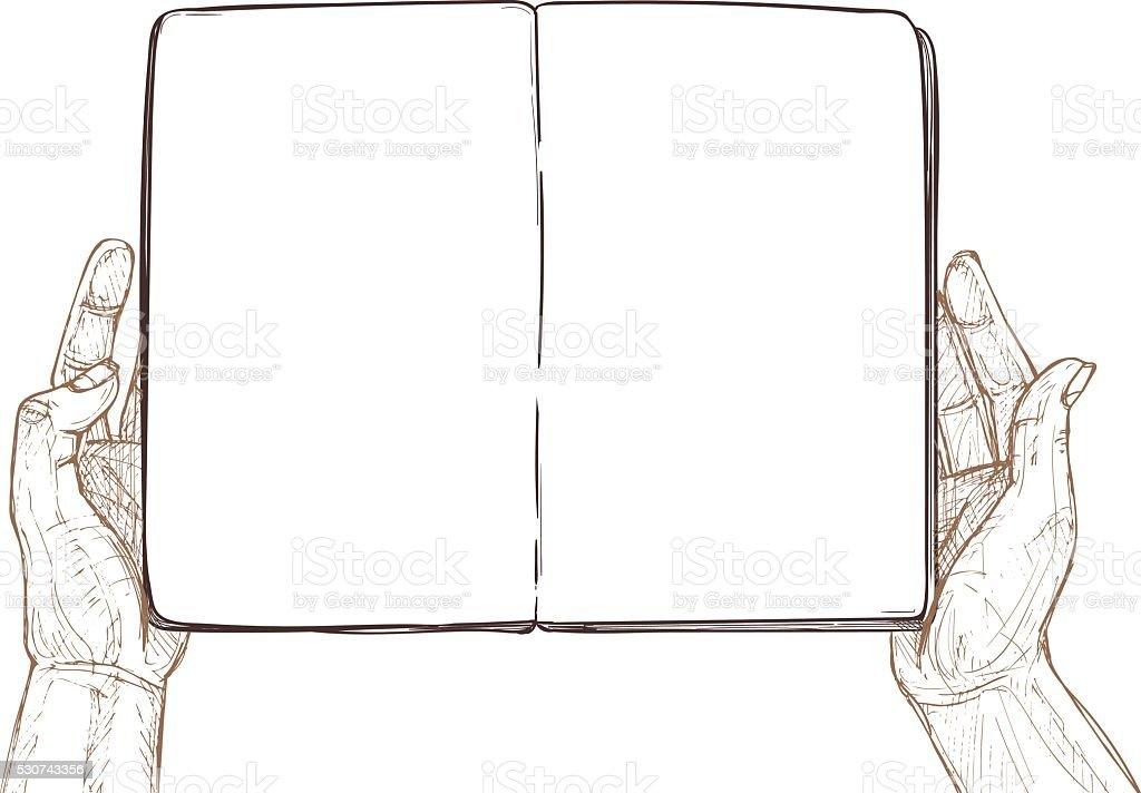Hand drawn vector illustration - Hands hold empty open book. vector art illustration