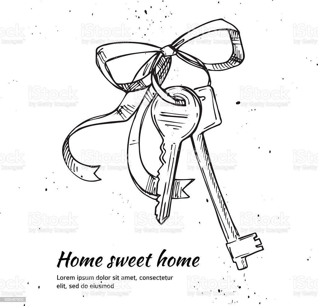 Hand drawn vector illustration - House keys. Home sweet home. vector art illustration