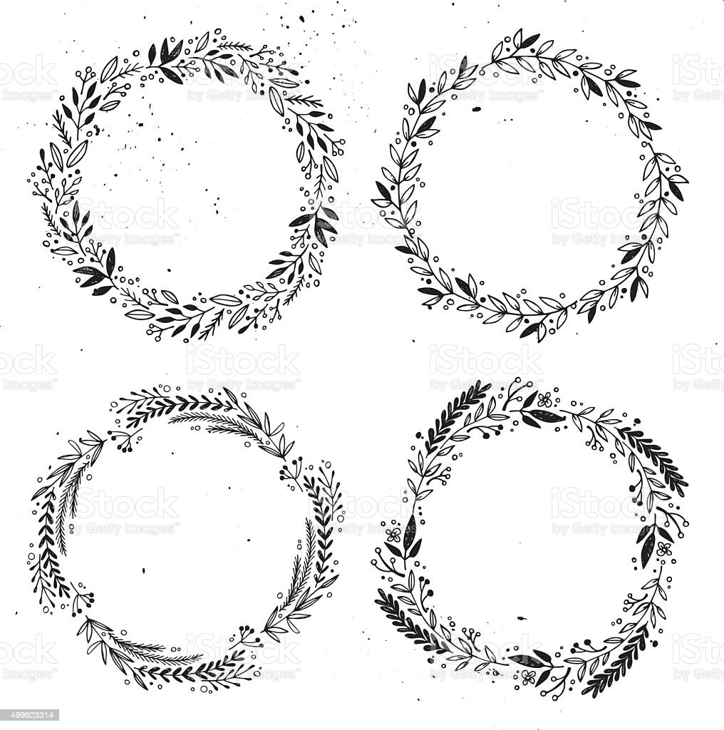 Hand drawn vector illustration - Laurels and wreaths. vector art illustration