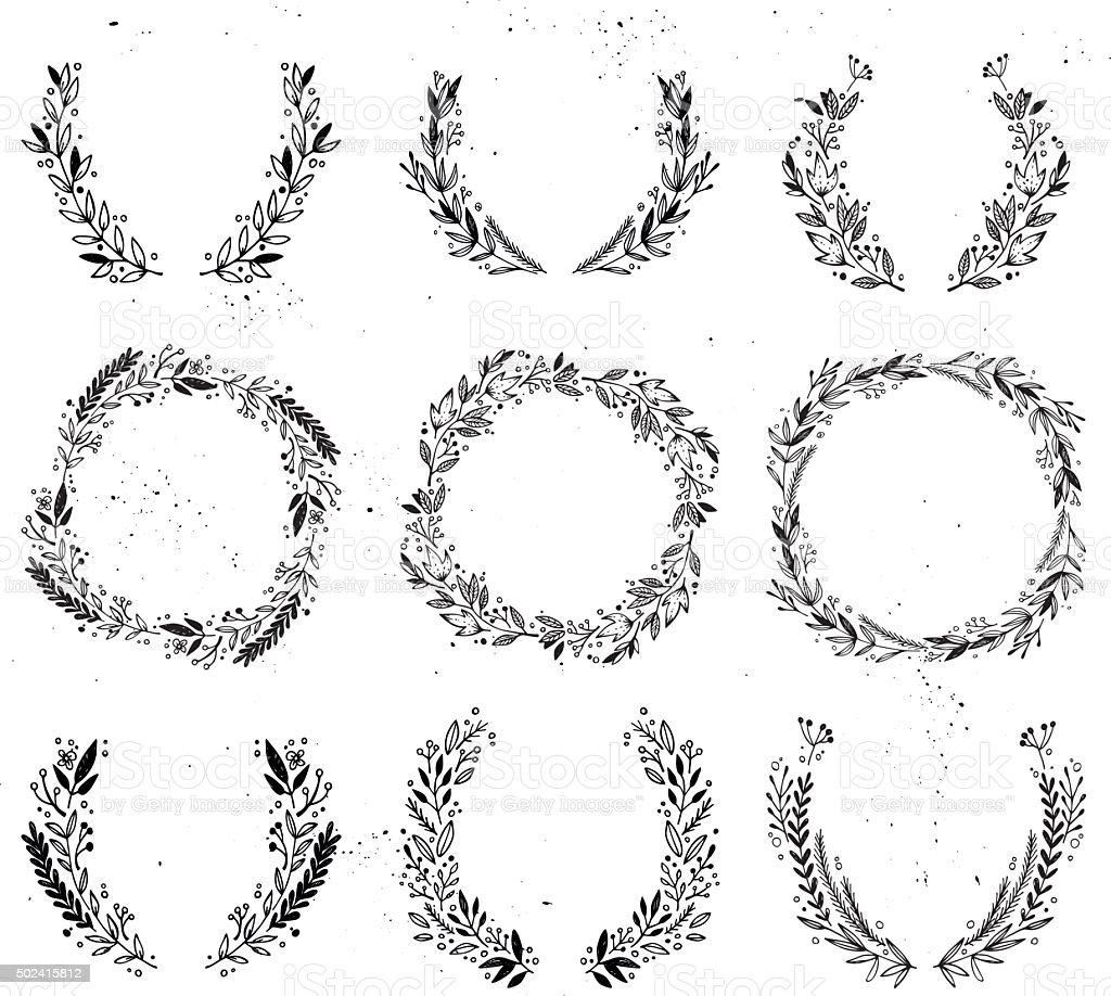 Hand drawn vector illustration - Laurels and wreaths. vector art illustration