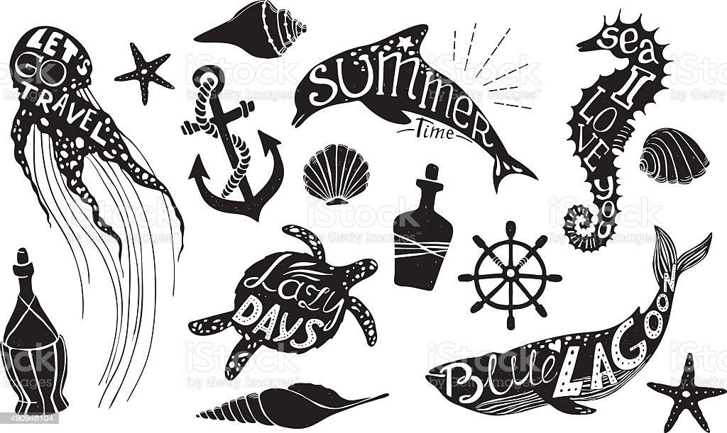 Hand drawn vector illustration - Marine kit. Graphic elements vector art illustration