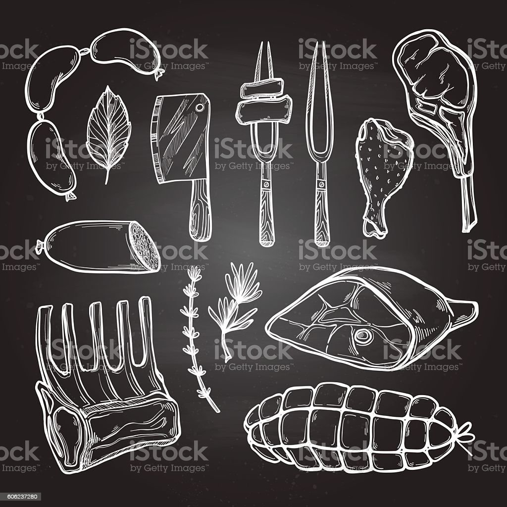 Hand drawn vector illustration - Meat products vector art illustration