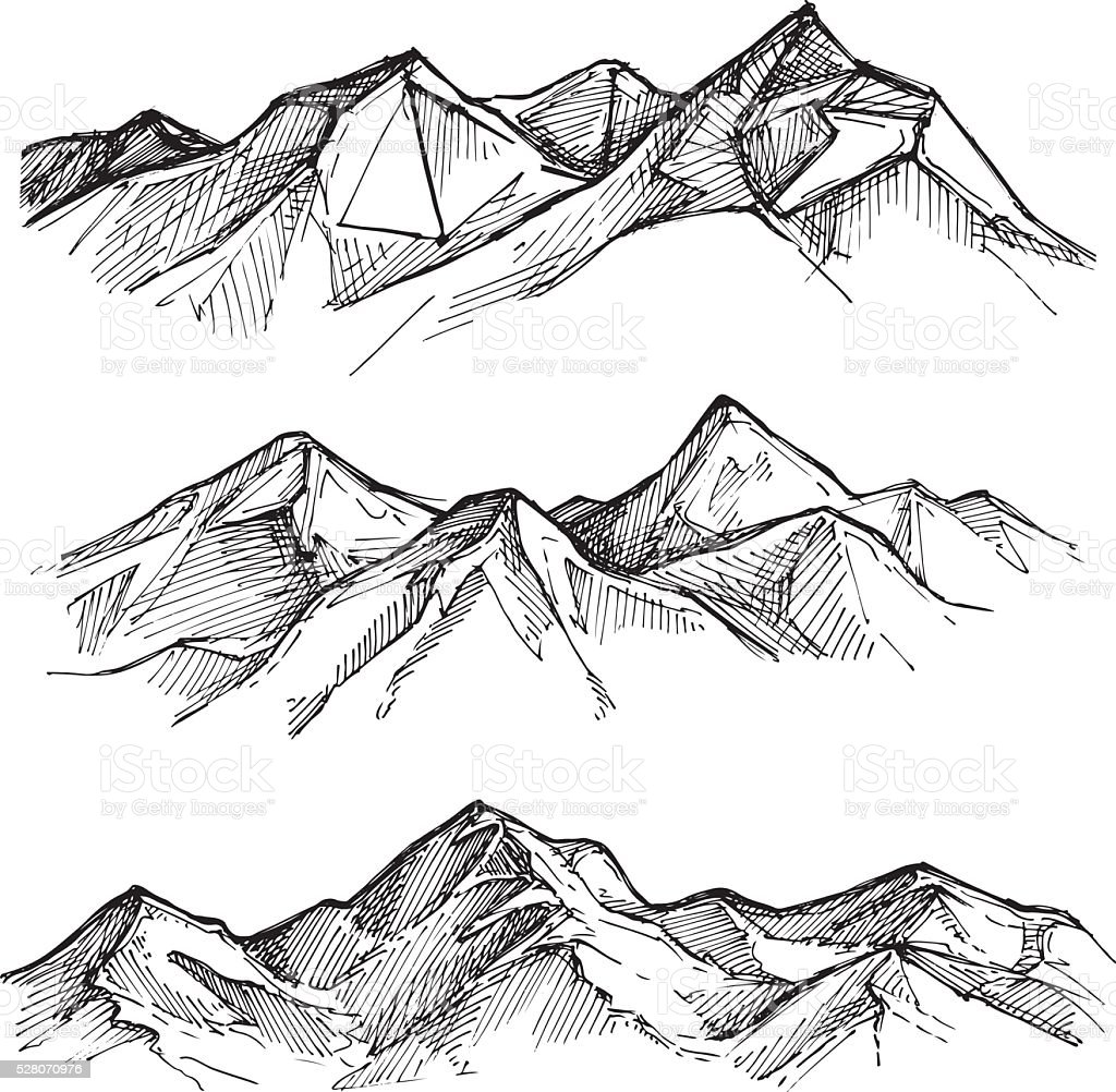 Hand drawn vector illustration - mountains. Sketch style. vector art illustration