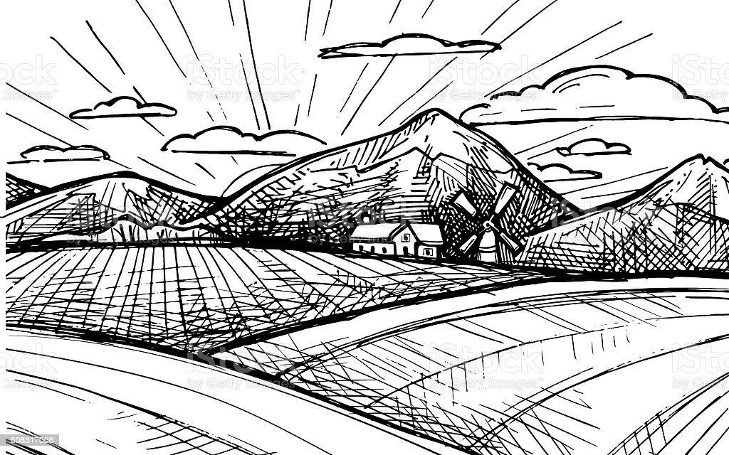 Hand drawn vector illustration - Organic farm. Sketch vector art illustration
