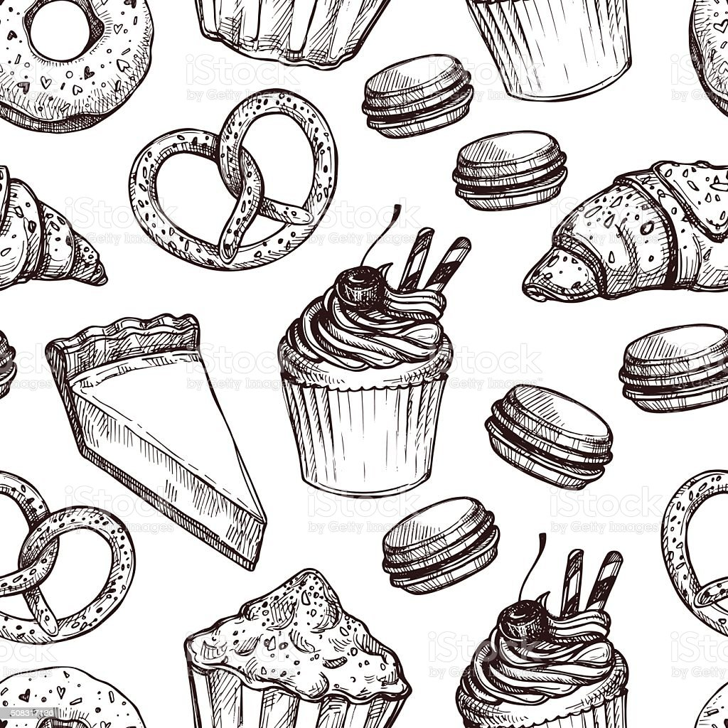 Hand drawn vector illustration - Seamless pattern with sweet vector art illustration