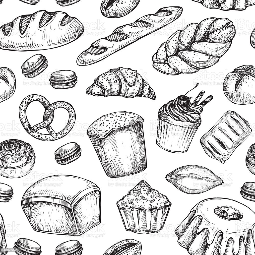 Hand drawn vector illustration - Seamless pattern with sweet vector art illustration