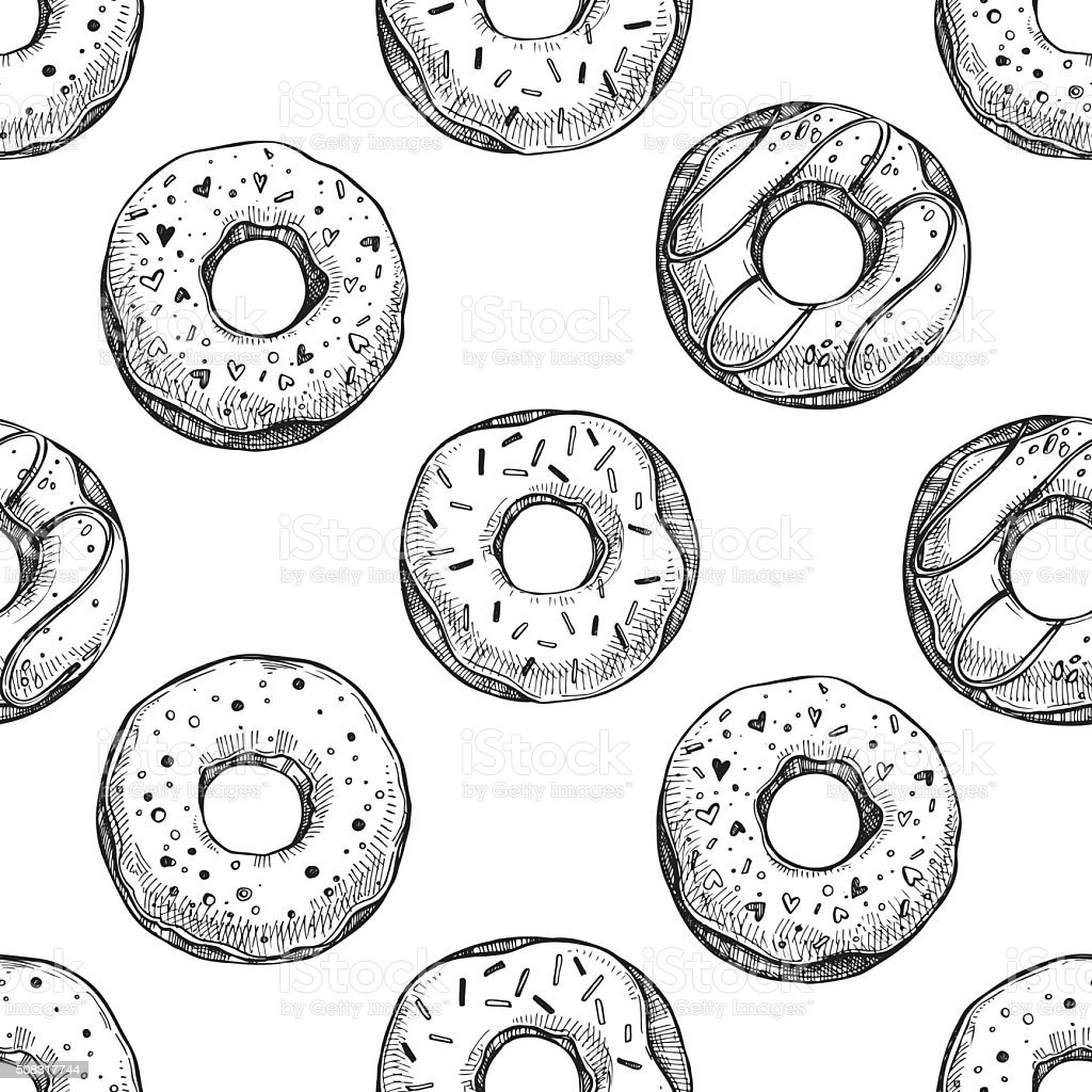 Hand drawn vector illustration - Seamless pattern with tasty donuts vector art illustration