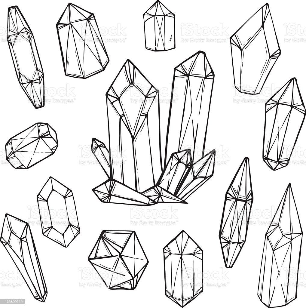 Hand drawn vector illustration - Set of geometric crystals vector art illustration