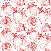 Hand drawn vector illustration - Strawberry background. Seamless