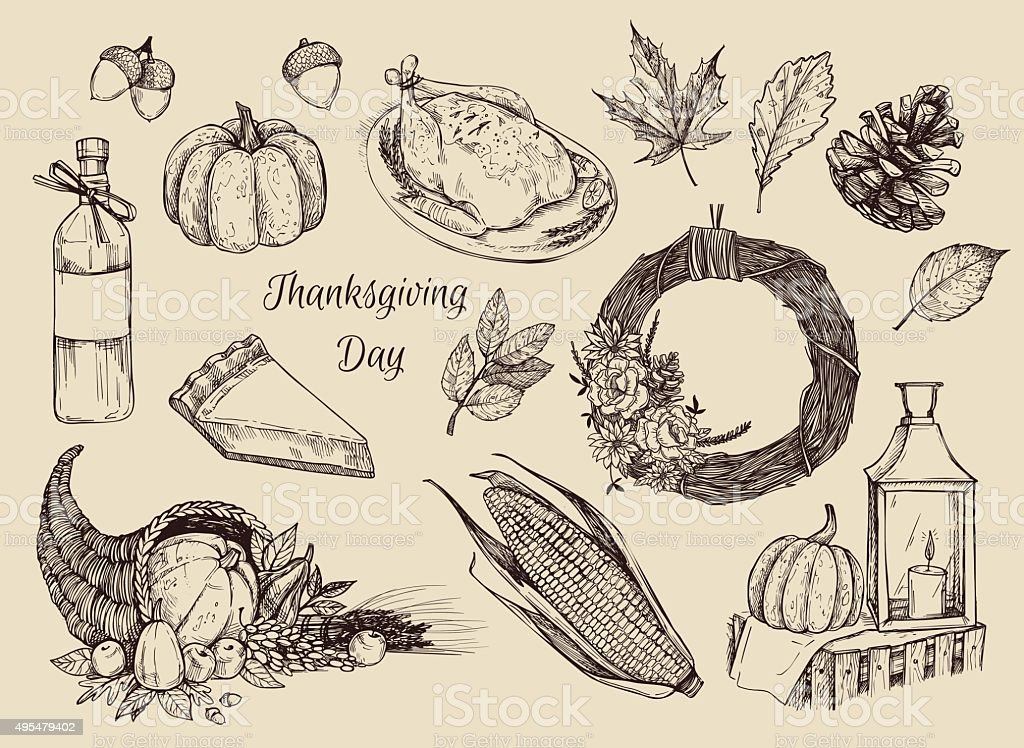 Hand drawn vector illustration - Thanksgiving day. Design elemens vector art illustration