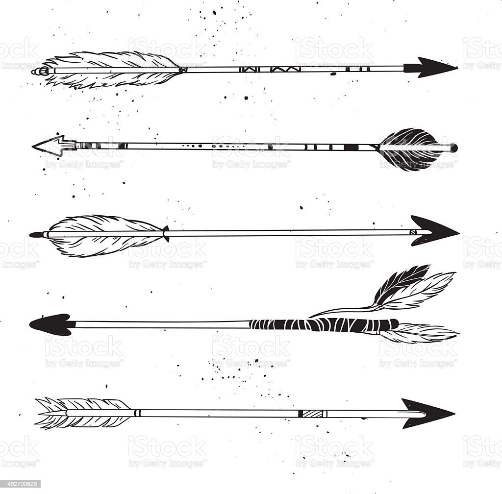 Hand drawn vector illustration.  Vintage decorative arrows collection vector art illustration