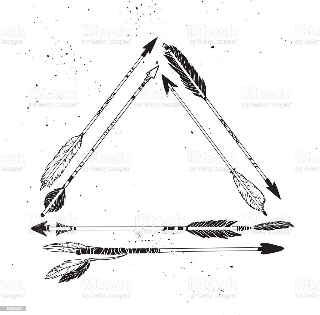 Hand drawn vector illustration.  Vintage decorative arrows collection vector art illustration