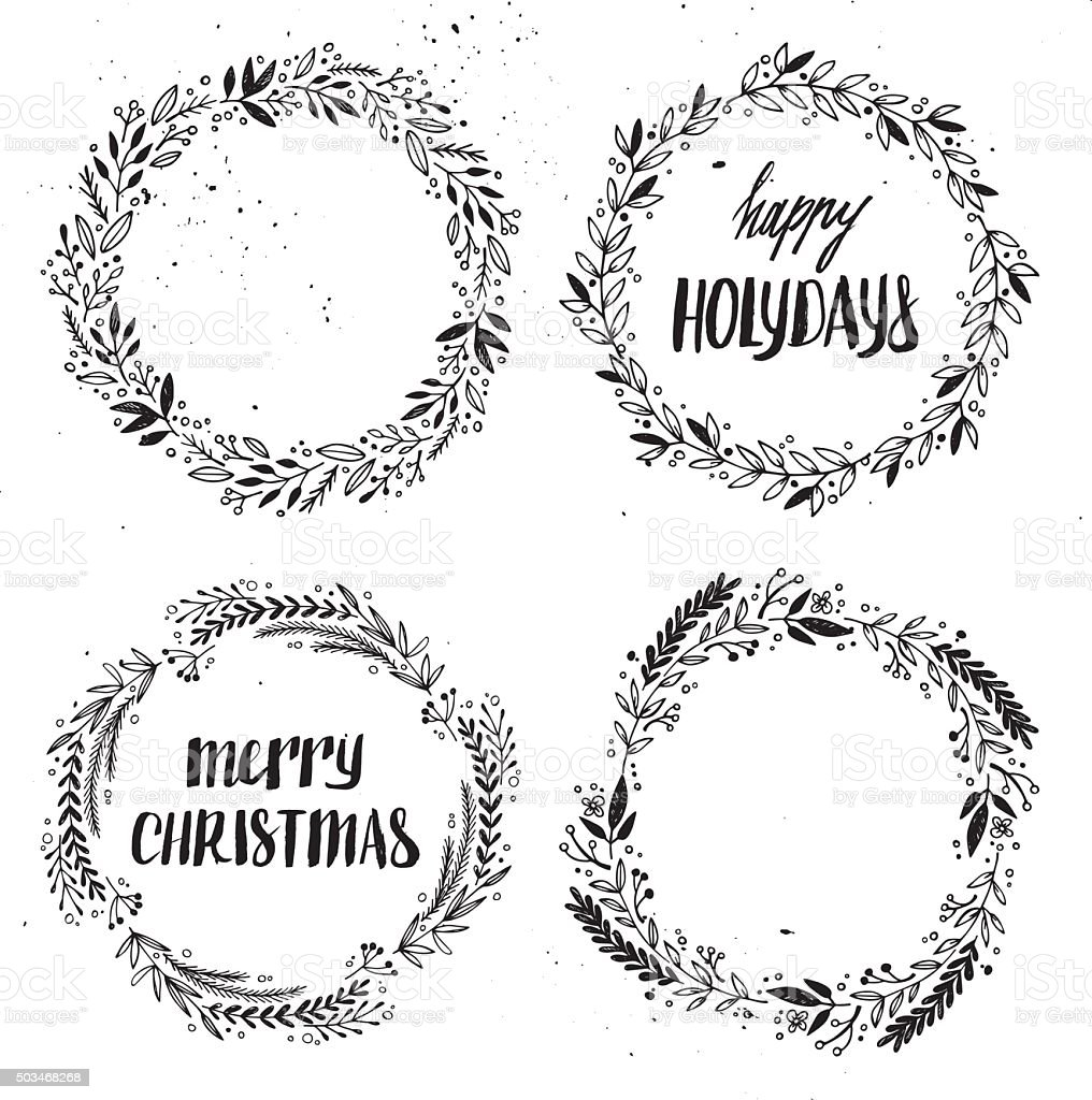 Hand drawn vector illustration. Vintage decorative kit of wreath vector art illustration
