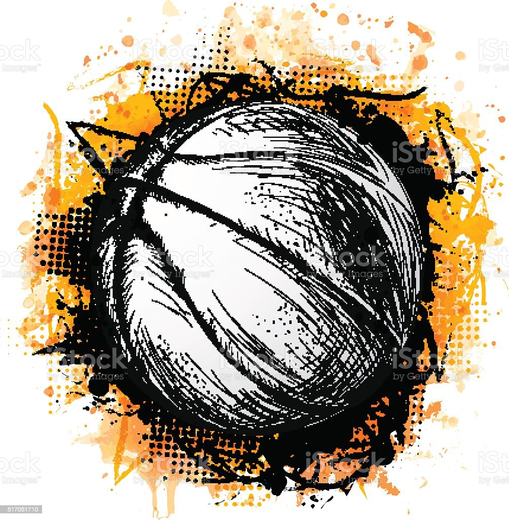 Hand drawn vector illustration with basketball ball and grunge vector art illustration
