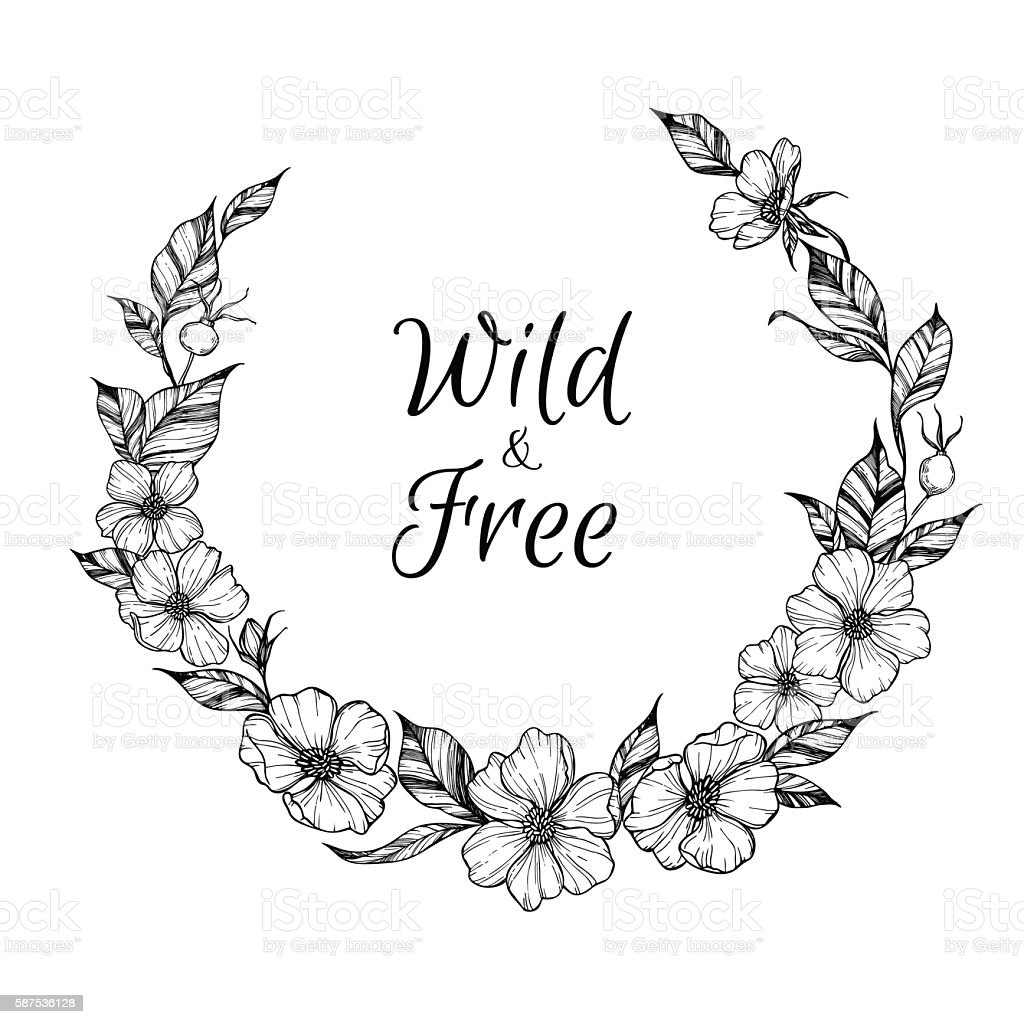 Hand Drawn Vector Illustration Wreath With Flowers And