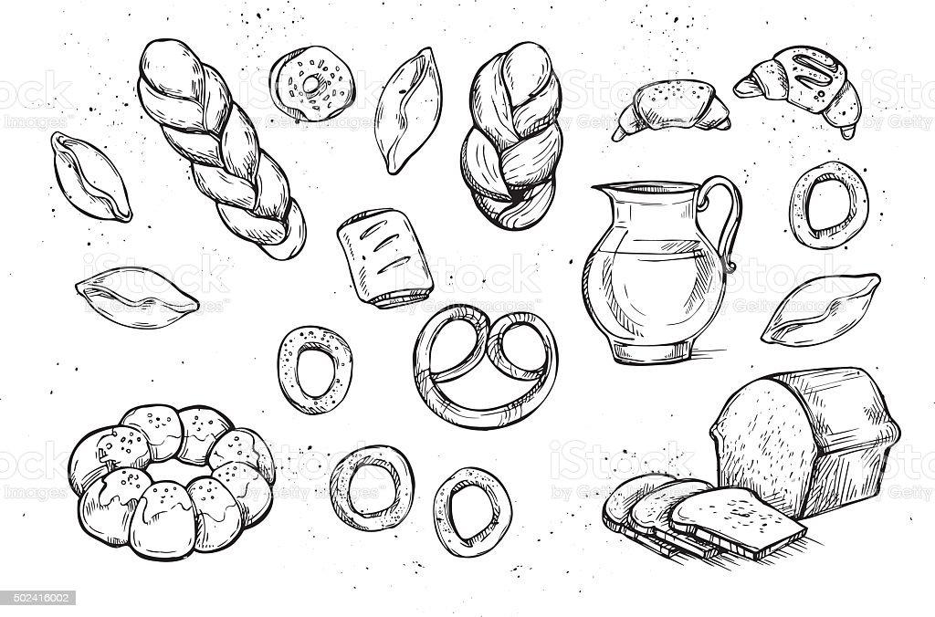Hand drawn vector illustrations - Bakery shop. Grocery store. vector art illustration