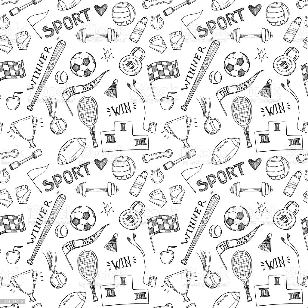 Hand drawn vector illustrations. Sport and fitness seamless pattern vector art illustration