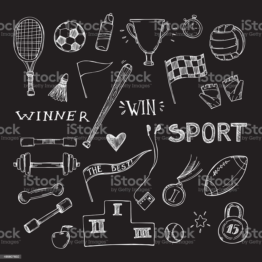 Hand drawn vector illustrations. Sport and fitness set. Sketch icons vector art illustration