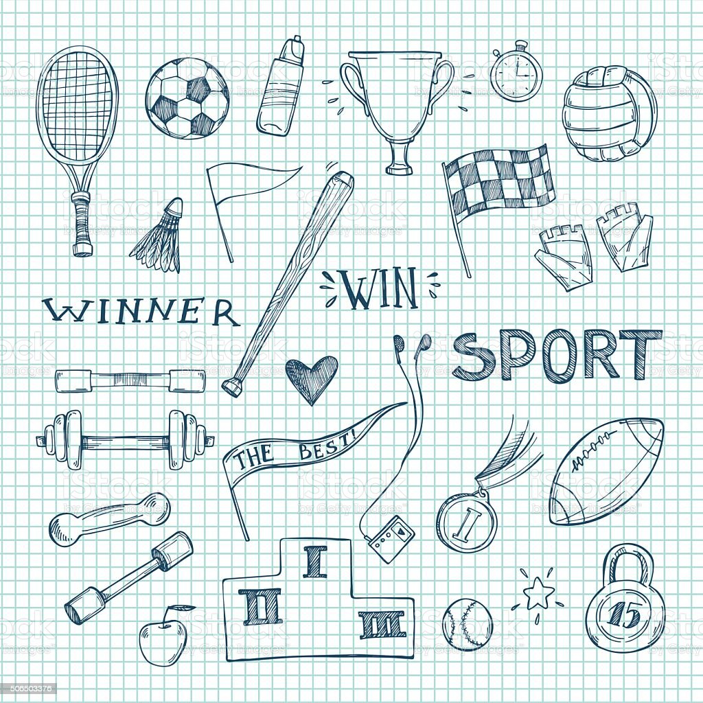 Hand drawn vector illustrations. Sport and fitness set. Sketch vector art illustration