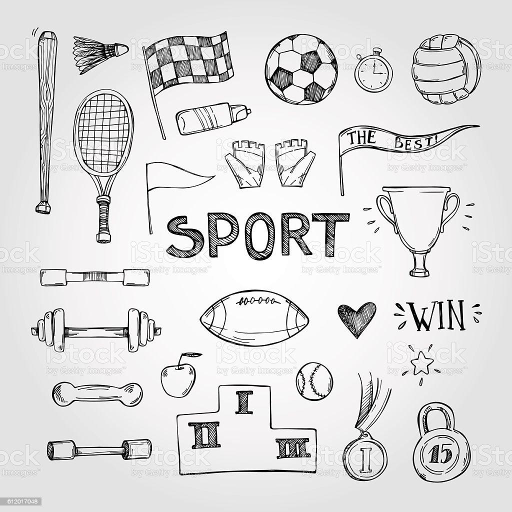 Hand drawn vector illustrations. Sport and fitness set. Sketch vector art illustration