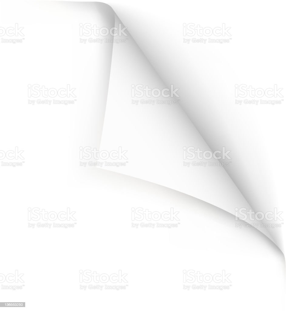 Hand drawn vector of blank page curled at edge stock photo