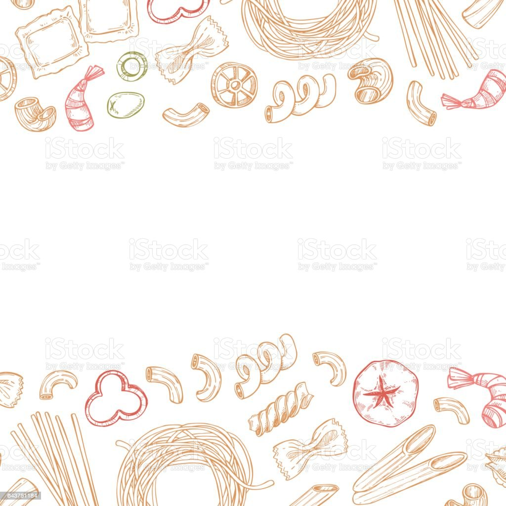 Hand drawn vector pattern - Different kinds of italian pasta. Design elements in sketch style. Perfect for menu, cards, blogs, banners. vector art illustration