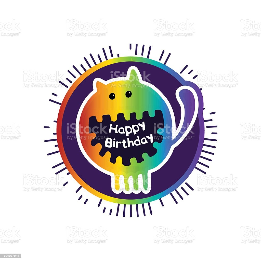 Hand drawn vector poster with cute little monster on a royalty-free stock vector art