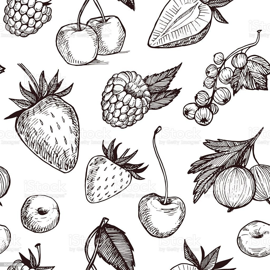 Hand drawn vector seamless pattern - Collection of berries vector art illustration