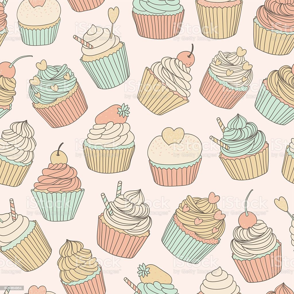 hand drawn vector seamless pattern with cupcakes vector art illustration