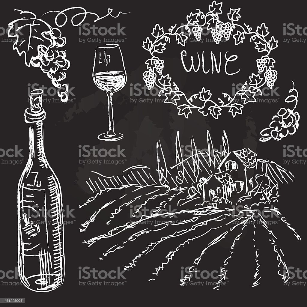Hand drawn vector set - wine and winemaking royalty-free stock vector art