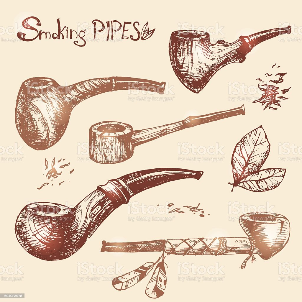 Hand drawn vector smoking pipes, sketchy engraving style. Old co vector art illustration