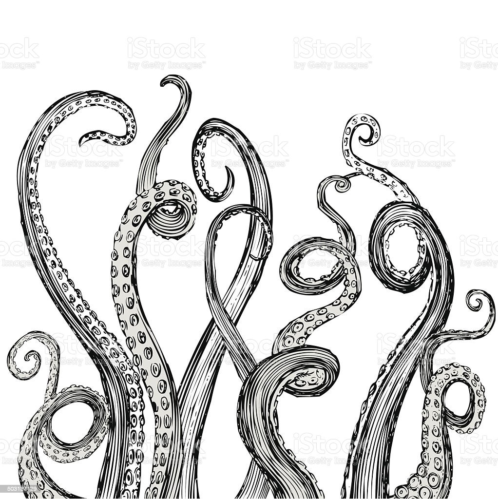 Hand Drawn Vector Tentacles in a rough wood cut style vector art illustration