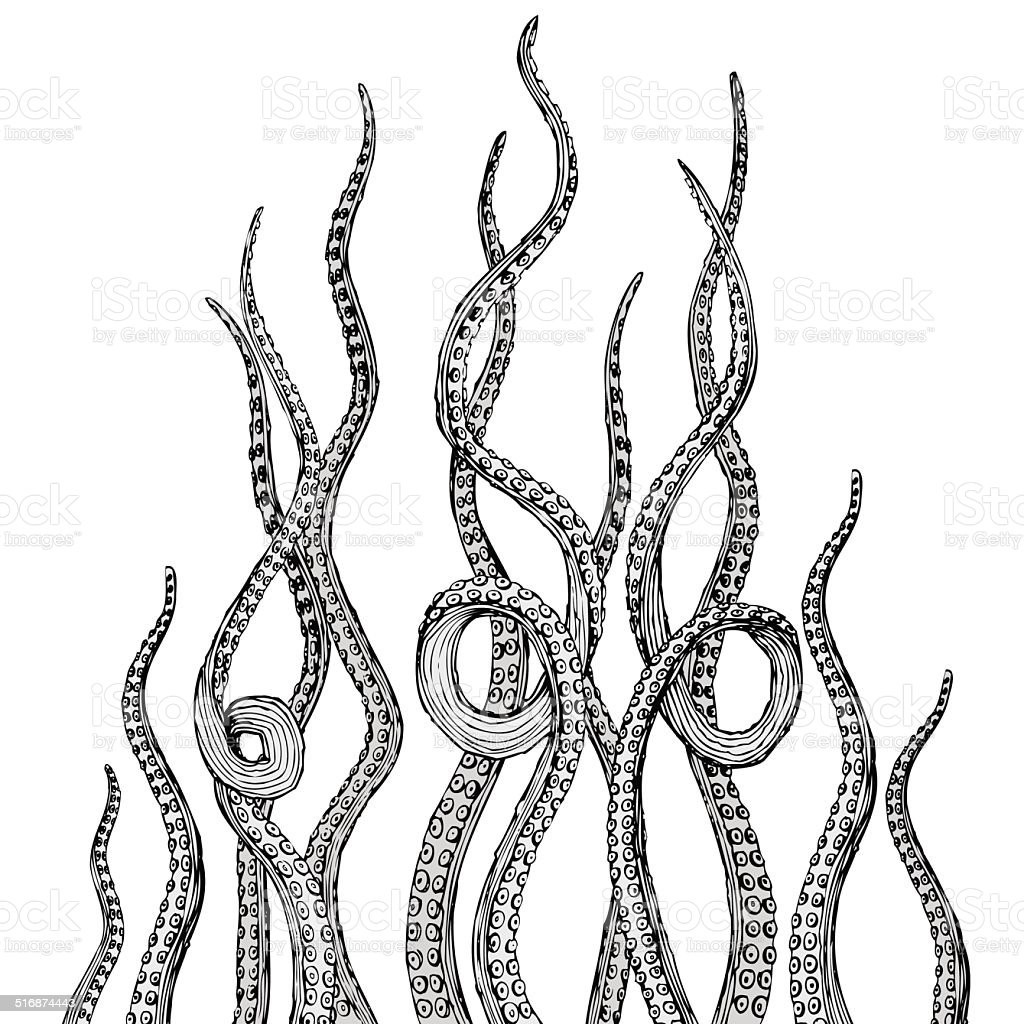Hand Drawn Vector Tentacles In A Rough Wood Cut Style ...