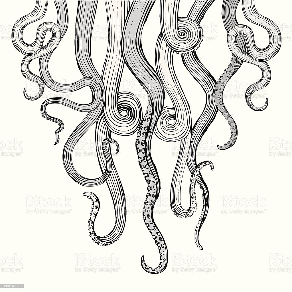 Hand Drawn Vector Tentacles vector art illustration