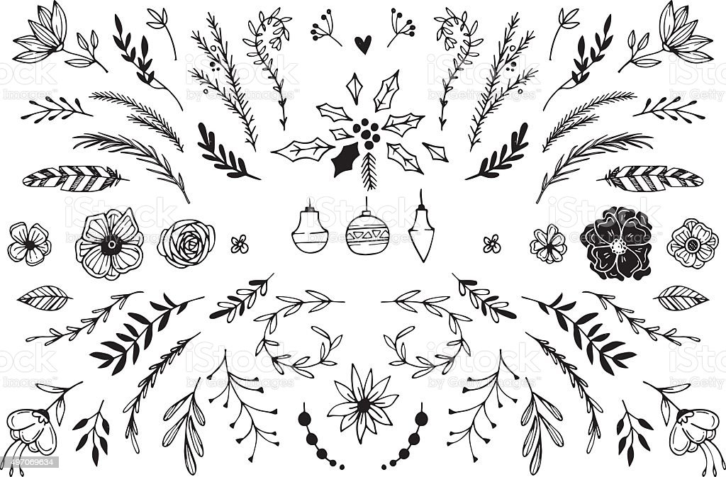 Hand Drawn vector vintage elements vector art illustration