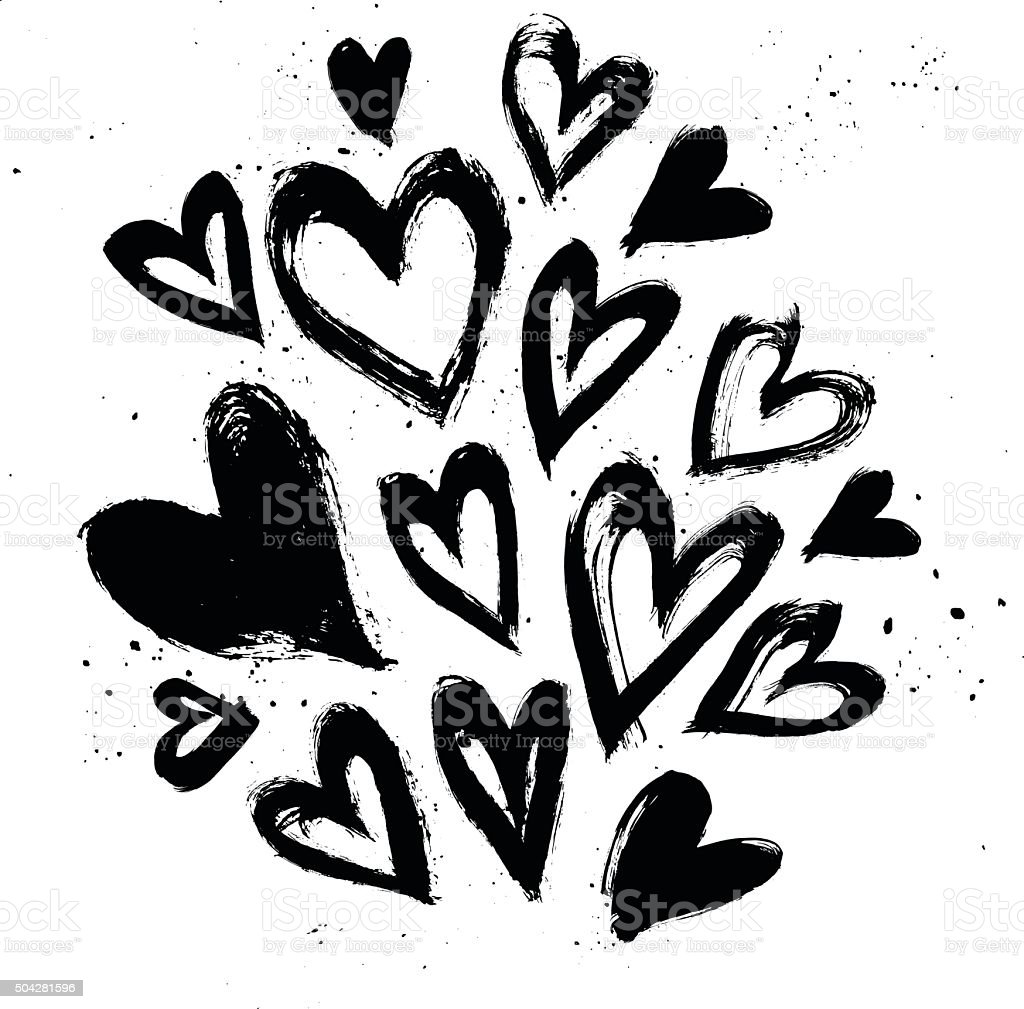 Hand drawn vector vintage texture. Collection with ink hearts. vector art illustration