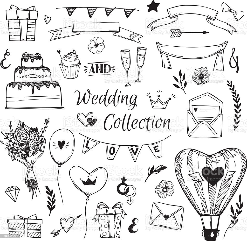 Hand Drawn vector Wedding collection. Perfect for invitations vector art illustration
