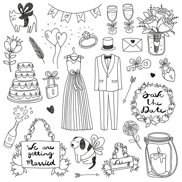 Vintage Wedding Border Clipart further Vegetable characters clipart also Hand Drawn Sketchy Style Icons Valentines Day And Wedding Icons 60378 Vector Clipart together with Vector Of A Cartoon Western Wedding Couple Coloring Page Outline By Toonaday 13742 as well Elegance 20 20clipart 20curly 20line. on vector art bride