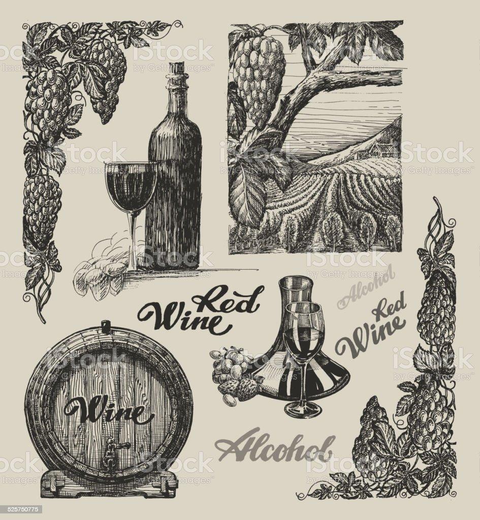 Hand drawn vector wine set vector art illustration