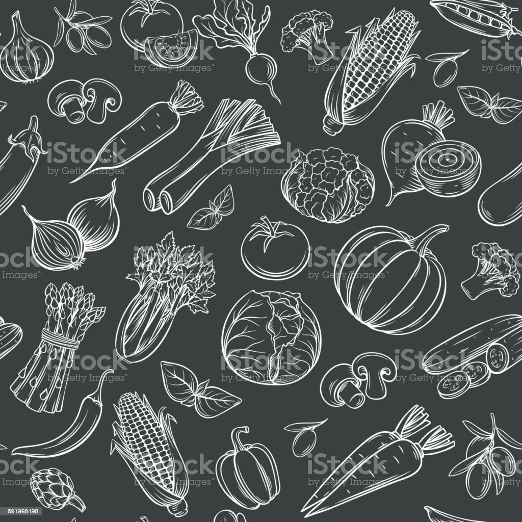 Hand drawn vegetables seamless pattern vector art illustration