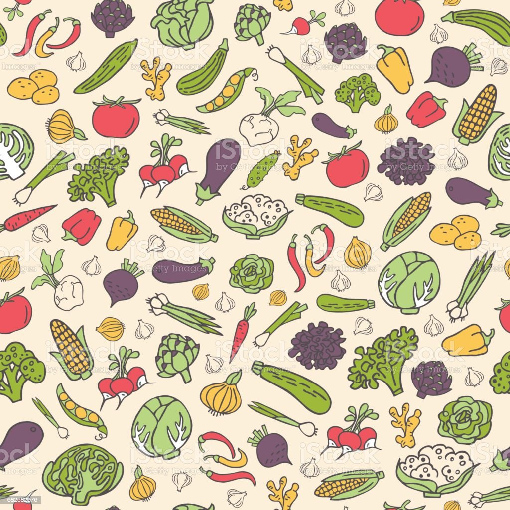 Hand drawn vegetables vector seamless pattern in flat style vector art illustration